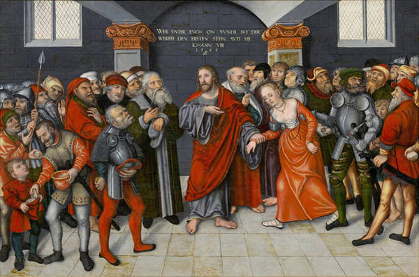 Painting - Jesus Christ And The Woman Taken In Adultery by Workshop of Lucas Cranach the Younger