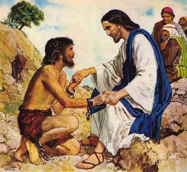 Gentle Man Wall Art - Painting - Jesus Christ Cures A Madman by Clive Uptton