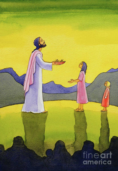 Miracle Painting - Jesus Christ Performs The Miracle Of The Loaves And The Fish by Elizabeth Wang