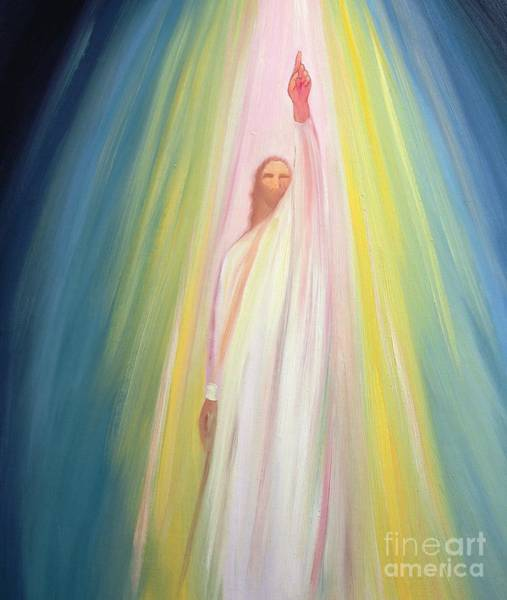 Glory Painting - Jesus Christ Points Us To God The Father by Elizabeth Wang