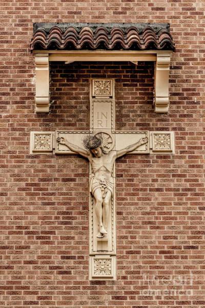 Photograph - Jesus Crucifix - Catholic Church Brick Wall  by Gary Whitton