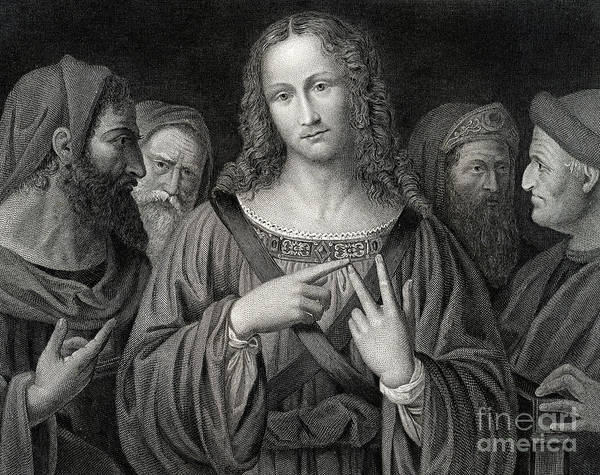 Wall Art - Drawing - Jesus Disputing With The Doctors by Italian School