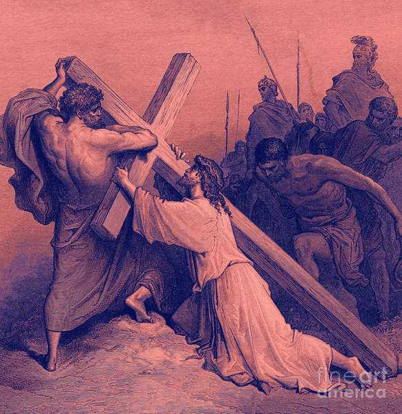 Wall Art - Drawing - Jesus Falling Beneath The Cross  Biblical Scene by Gustave Dore