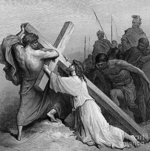 Wall Art - Drawing - Jesus Falling Beneath The Cross By Gustave Dore  Engraved by Gustave Dore