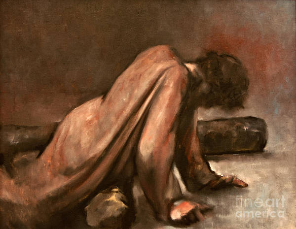 Wall Art - Painting - Jesus Falls The First Time by Dan Radi