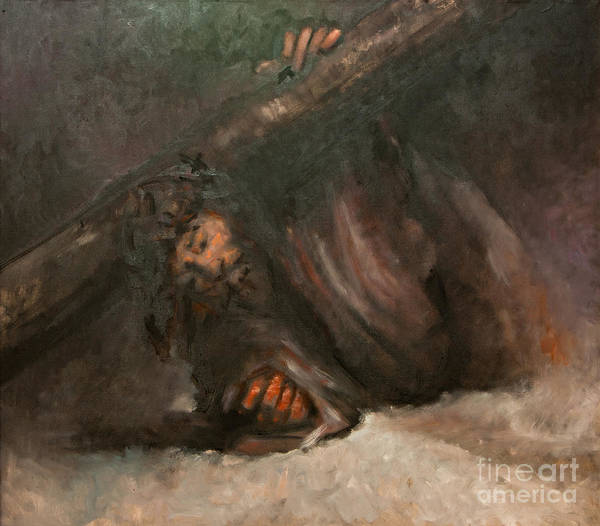 Wall Art - Painting - Jesus Falls The Second Time by Dan Radi