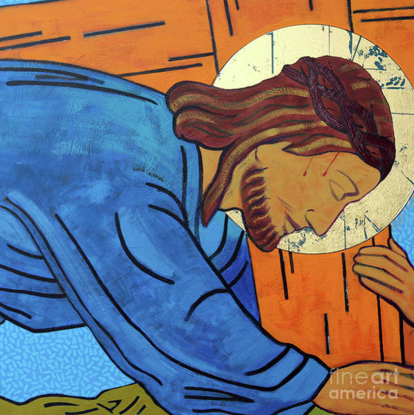 Church Of The Cross Painting - Jesus Falls Under The Cross by Sara Hayward