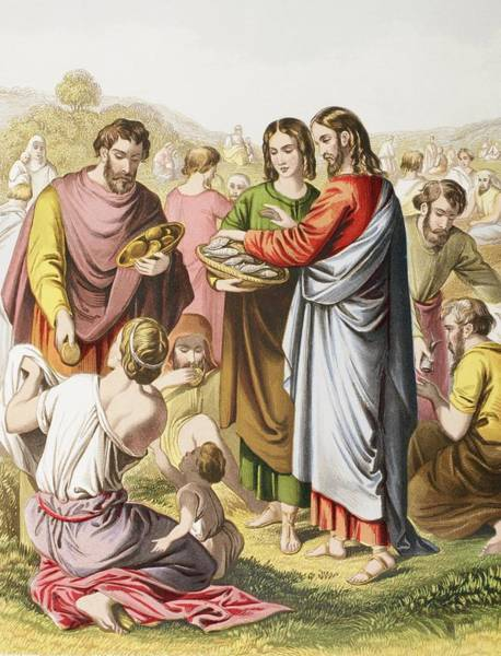 Miracle Drawing - Jesus Feeding The Multitude. The by Vintage Design Pics