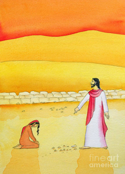 Wall Art - Painting - Jesus Forgives The Woman Caught In Adultery by Elizabeth Wang