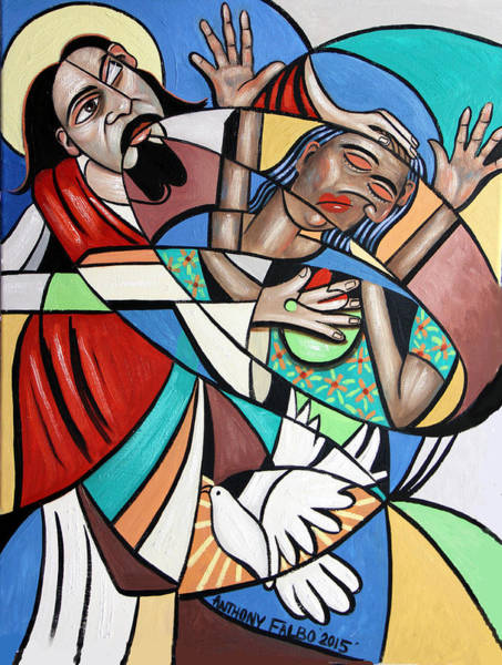 Heal Wall Art - Painting - Jesus Heals The Brokenhearted by Anthony Falbo