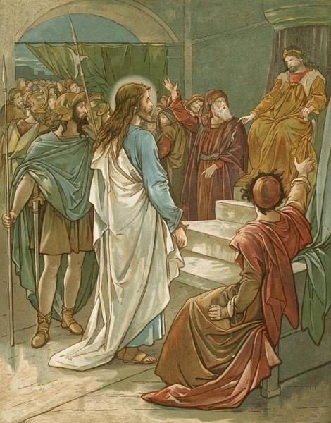 Trial Wall Art - Painting - Jesus In Front Of Pilate by John Lawson