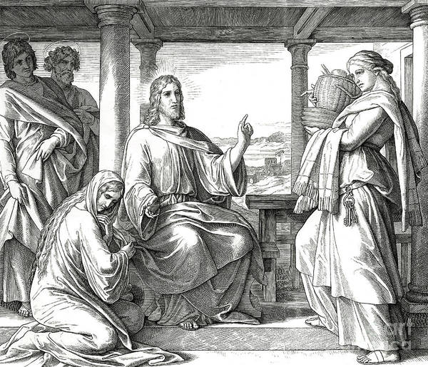 Wall Art - Drawing - Jesus In The House Of Martha, Gospel Of Luke by Julius Schnorr von Carolsfeld