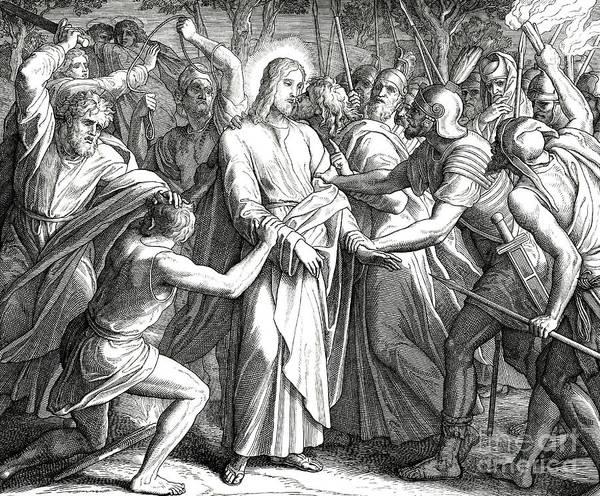Gospel Drawing - Jesus Is Betrayed By Judas Iscariot by Julius Schnorr von Carolsfeld