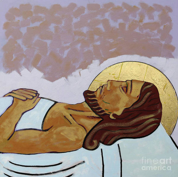 Golgotha Painting - Jesus Is Laid In The Tomb by Sara Hayward