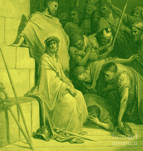 Wall Art - Drawing - Jesus Is Mocked By Roman Soldiers by Gustave Dore