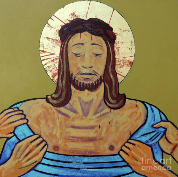 Golgotha Painting - Jesus Is Stripped by Sara Hayward