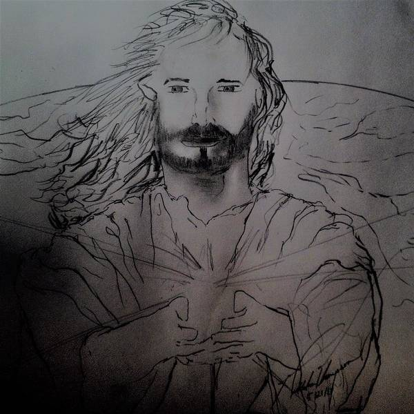 Love Drawing - Jesus Light Of The World Full by Love Art Wonders By God