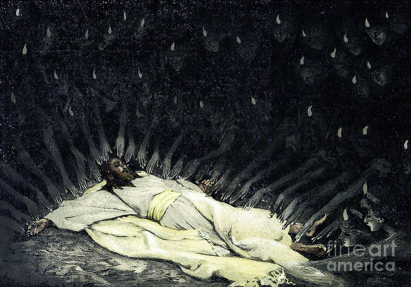 Miracle Drawing - Jesus Ministered To By Angels  by James Jacques Joseph Tissot