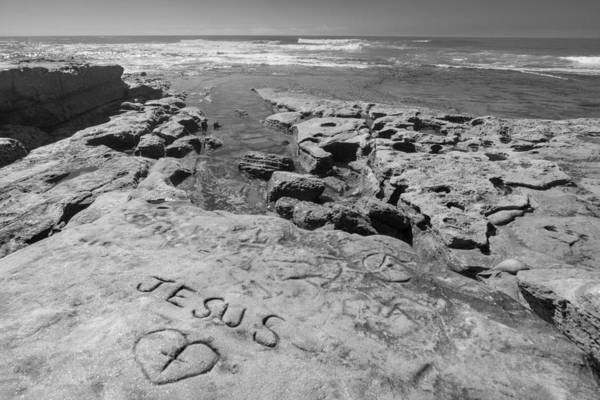 Photograph - Jesus On The Rock Black And White by Scott Campbell
