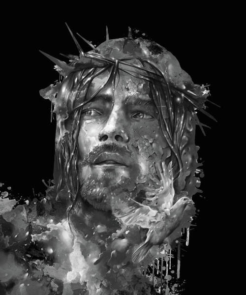 Son Digital Art - Jesus Portrait Black by Bekim Art