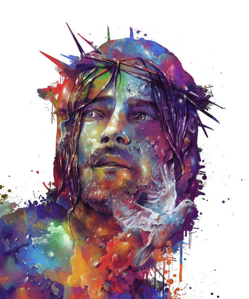 Son Digital Art - Jesus Portrait Colorful by Bekim Art