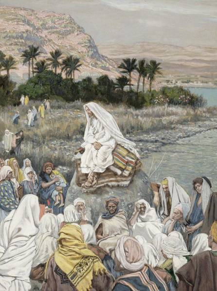 Sea Land Painting - Jesus Preaching By The Seashore by Tissot