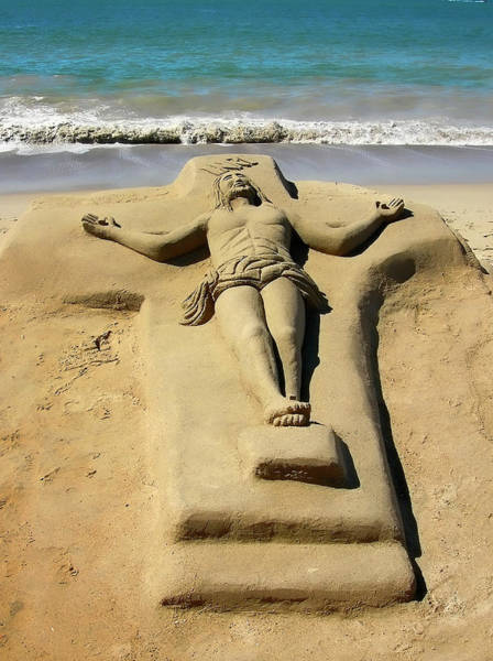 Photograph - Jesus Sand Sculpture by Rich Stedman