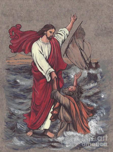 Save Painting - Jesus Saves Peter by Morgan Fitzsimons