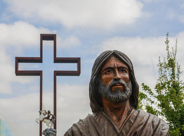Photograph - Jesus Statue At Empty Cross by Brian Kinney