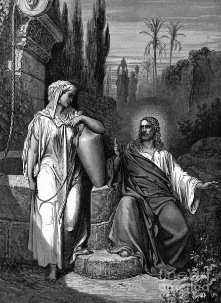 Wall Art - Drawing - Jesus Talks With The Samaritan Woman  by Gustave Dore