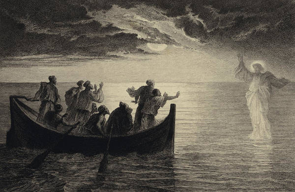 Jesus Drawing - Jesus Walking On The Sea by Albert Robida