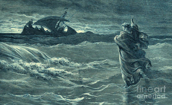 Miracle Drawing - Jesus Walking On Water By Gustave Dore by Gustave Dore