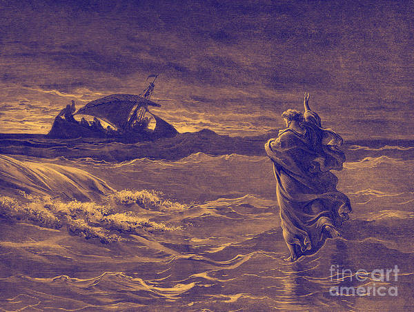 Saving Painting - Jesus Walks On Water By Dore by Gustave Dore