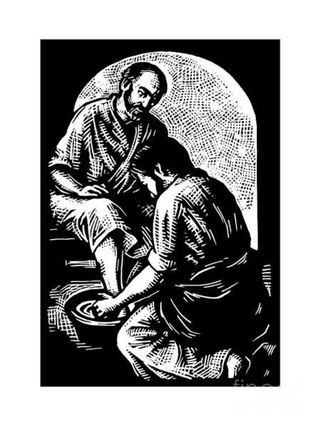 Painting - Jesus Washing Peters Feet - Jljwp by Julie Lonneman