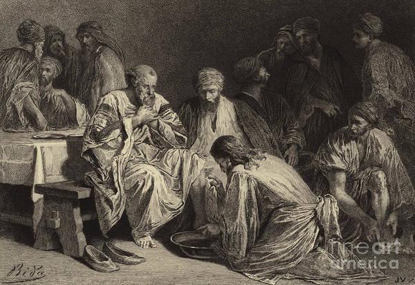 Gospel Drawing - Jesus Washing The Disciples' Feet by Albert Robida