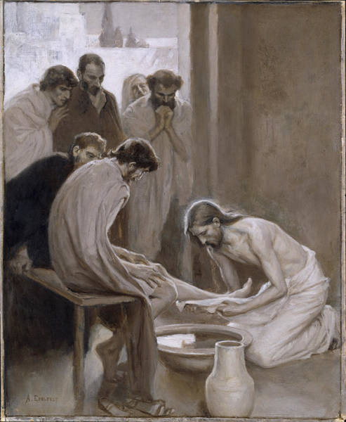Wall Art - Painting - Jesus Washing The Feet Of His Disciples by Albert Edelfelt