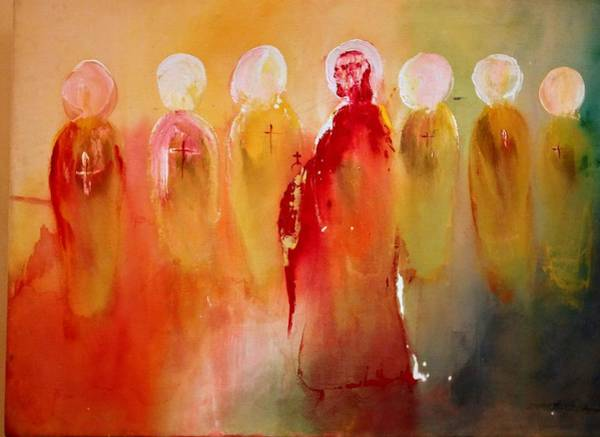 Painting - Jesus With His Apostles by Edward Longo