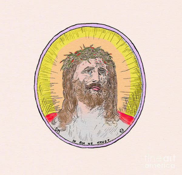 Painting - Jesus With The Crown Of Thorns by Donna L Munro