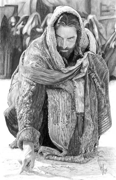Christian Drawing - Jesus Writing In The Sand by Bobby Shaw