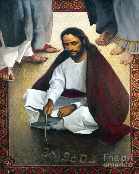 Painting - Jesus Writing In The Sand - Lgjws by Louis Glanzman