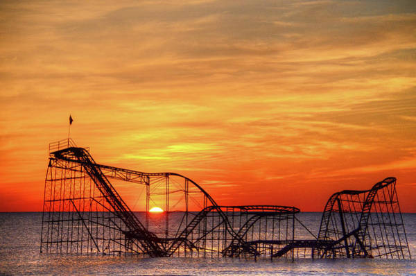 Down The Shore Photograph - Jet Star Sunrise, Seaside Heights Nj by Bob Cuthbert