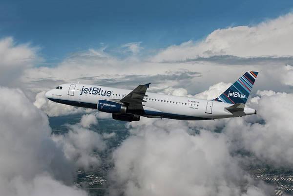 Jetblue Wall Art - Mixed Media - jetBlue Airbus A320 by Erik Simonsen