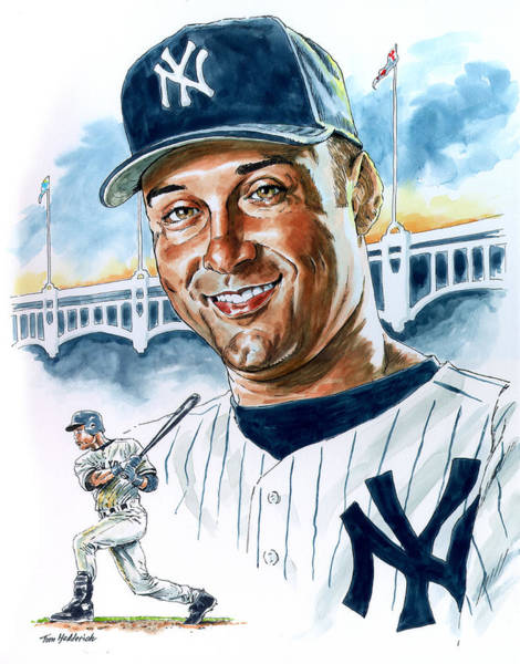 Baseball Painting - Jeter by Tom Hedderich