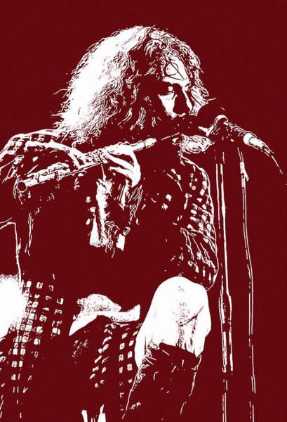 Progressive Rock Painting - Jethro Tull, Ian Anderson - Portrait In Red by Andrea Mazzocchetti