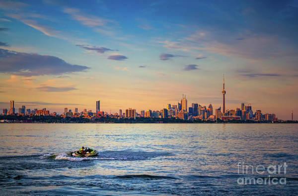 Photograph - Jetski And Toronto Skyline by Les Palenik