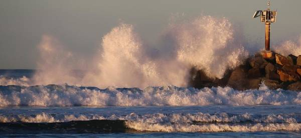 Photograph - Jetty Waves - 2 by Christy Pooschke