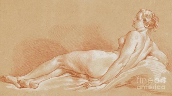 Boucher Wall Art - Pastel - Jeune Femme Allongee by Francois Boucher