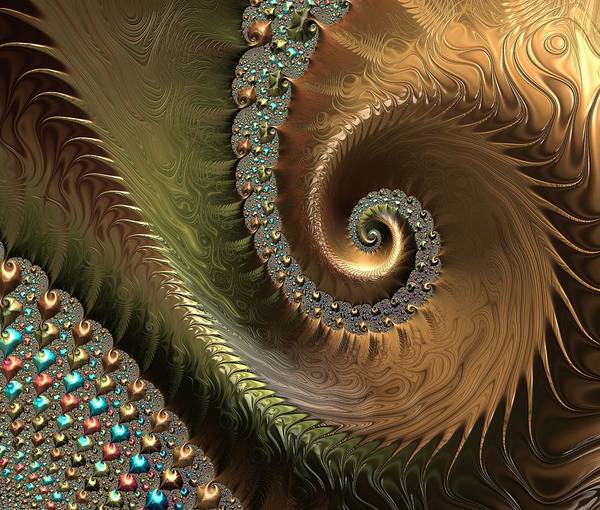 Jewels Digital Art - Jewel And Spiral Abstract by Marianna Mills
