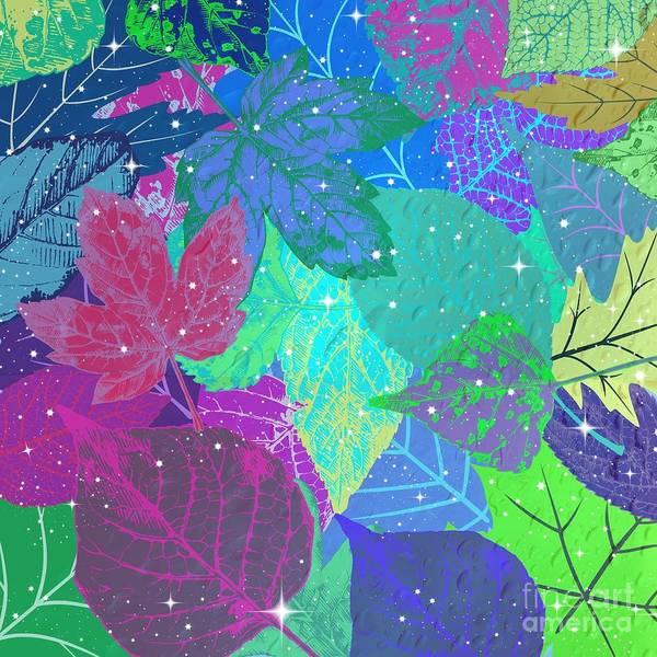 Digital Art - Jeweled Leaves by Diamante Lavendar