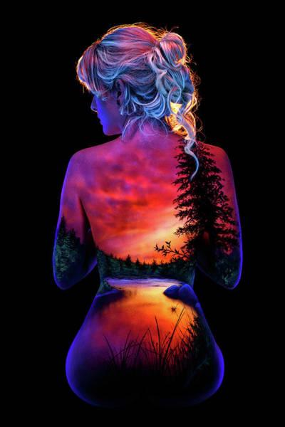 Blacklight Painting - Jewel's River Sunset by John Poppleton